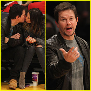 Mark Wahlberg Plants a Big Kiss on Wife Rhea Durham at Lakers Game