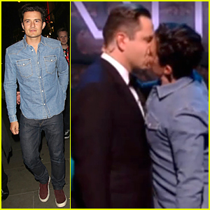 Orlando Bloom Kisses David Walliams On the Lips on Comic Relief Red Nose Day (Video)