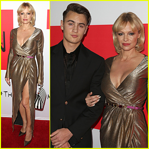 Pamela Anderson Brings Hot Son Brandon to 'Gunman' Premiere