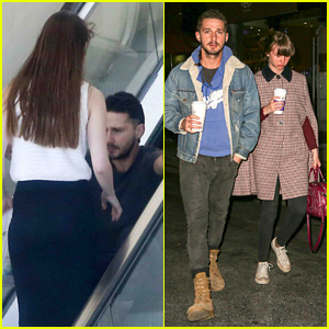 Shia LaBeouf Sits Down While Riding Escalator With Mia Goth