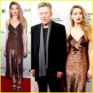 Amber Heard & Christopher Walken Walk the Red Carpet Together at Tribeca Film Festival