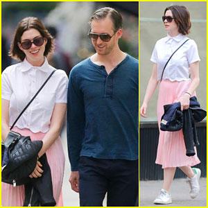 Anne Hathaway Gets Walked to Work By Husband Adam Shulman