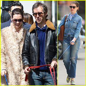 Anne Hathaway & Adam Shulman Walk the Dogs After 'Lip Sync Battle' Airs
