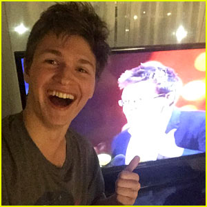Ansel Elgort Celebrates 'Faults In Our Stars' MTV Wins at Home