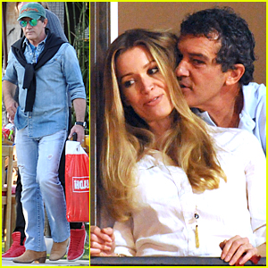 Antonio Banderas Can't Stay Away From Girlfriend Nicole Kempel's Neck During Easter Weekend
