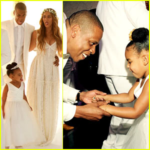 Beyonce, Jay Z, & Blue Ivy Make Funny Faces at Tina Knowles' Wedding!