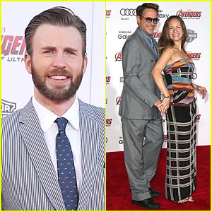 Chris Evans & Robert Downey Jr. Suit Up For 'Avengers: Age of Ultron' Premiere