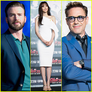 Chris Evans & Robert Downey Jr. Hit South Korea with Claudia Kim for 'Avengers: Age Of Ultron'!