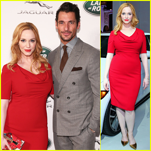 Christina Hendricks Is Red Hot for Jaguar Land Rover VIP Reception with David Gandy!