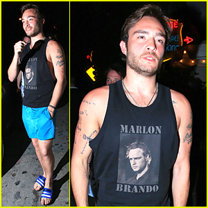 Ed Westwick Rocks Short Shorts at Chateau Marmont