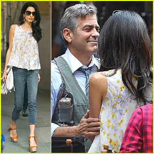 George Clooney Gets Touchy Feely with Wife Amal On 'Money Monster' Set