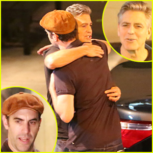 George Clooney & Sacha Baron Cohen Hug It Out After Dinner