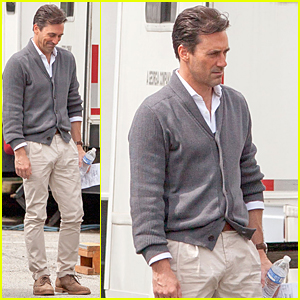Jon Hamm's Tight Pants Are Back on 'Keeping Up with the Joneses' Set