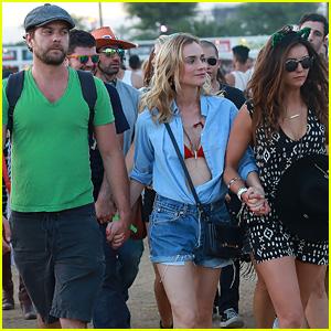 Joshua Jackson Holds Hands With Girlfriend Diane Kruger & Pal Nina Dobrev at Coachella 2015