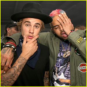 Justin Bieber & Chris Brown Hang Out at Nylon Coachella Party