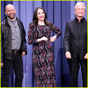 Kat Dennings Beat Michael Douglas at Charades on 'Tonight Show' - Watch Now!