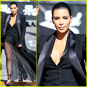 Kim Kardashian Wears a Totally See Through Skirt for 'Kimmel'