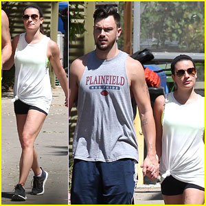 Lea Michele & Matthew Paetz Hold Hands for a Hike