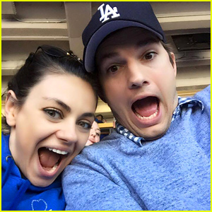 Ashton Kutcher & Mila Kunis Snap a Cute Selfie at Dodgers Opening Day!