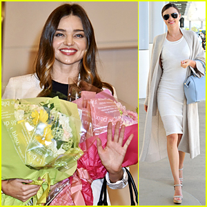 Miranda Kerr Gets Tons of Flowers at Haneda Airport in Japan