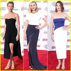 Scarlett Johansson & Elizabeth Olsen Glam Up For 'Avengers: Age of Ultron' Premiere!