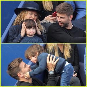 Shakira & Gerard Pique Bring Their Adorable Son Milan to the Barcelona Open!