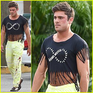 Bruised & Bloody Zac Efron Sports Fringe Crop Top For 'Dirty Grandpa'