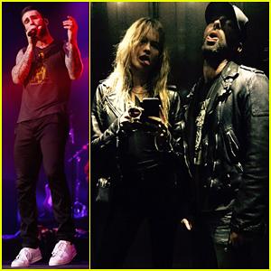 Adam Levine & Behati Prinsloo Get Serious Jet Lag Bringing Maroon 5 'V' Tour to Paris!