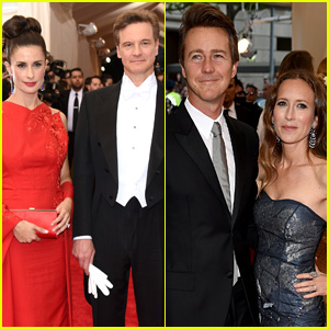 Colin Firth & Edward Norton Bring Their Wives to Met Gala 2015