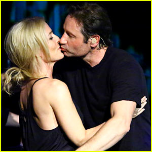 David Duchovny & Gillian Anderson Kiss During His Concert