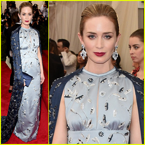 Emily Blunt Steps Out Solo for Met Gala 2015 Red Carpet