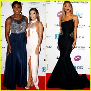Eva Longoria & Serena Williams Go Glam for Champ Seed Party
