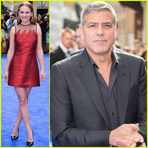 George Clooney & Britt Robertson Premiere 'Tomorrowland' Across the Pond in London