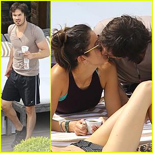 Ian Somerhalder & Nikki Reed Share Poolside Kiss in Brazil