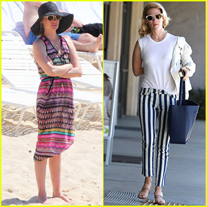 January Jones Dons Colorful Beach Cover-Up in Hawaii