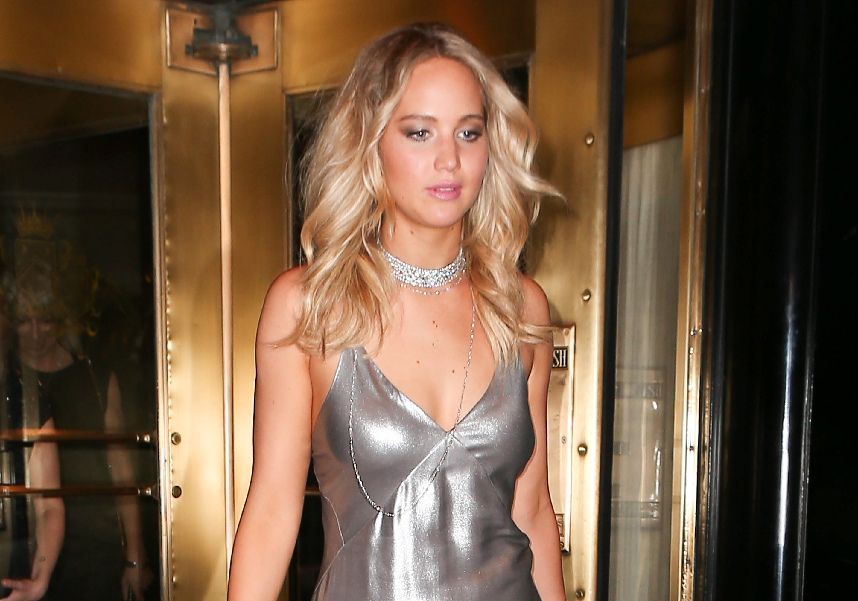 Jennifer lawrence changes into shiny silver dress for met gala after jennifer lawrence changes into shiny silver dress for met gala after party 2015 2015 met gala jennifer lawrence met gala just jared altavistaventures Image collections