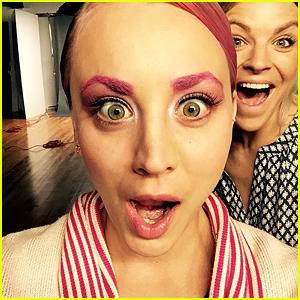 Kaley Cuoco Debuts Dyed Pink Hair & Eyebrows