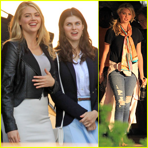 kate upton continues filming �the layover� in canada