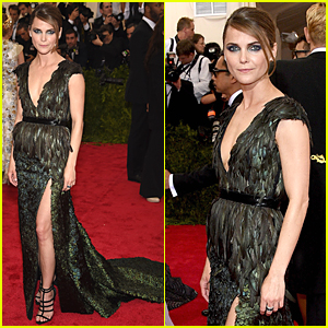 Keri Russell Rocks Green Feathered Frock at Met Gala 2015