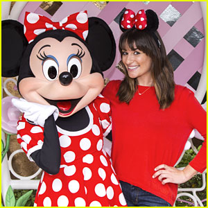 Lea Michele Braves The Rain At Disneyland For Tea Party With Minnie Mouse