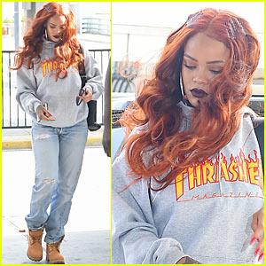 Rihanna Wears Thrasher Skateboard Magazine Support