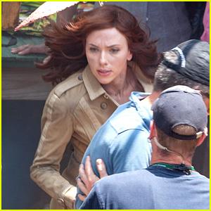 Scarlett Johansson Performs Motorcycle Stunt for 'Captain America: Civil War'