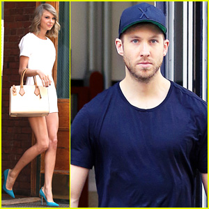 Taylor Swift & Calvin Harris Leave Her Apartment Separately