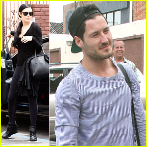 Rumer Willis & Val Chmerkovskiy Hit The Studio For DWTS Finals Practice