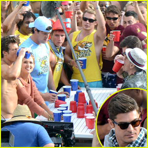 Zac Efron & Robert De Niro Play Flip Cup Against Zoey Deutch & Aubrey Plaza for 'Dirty Grandpa'
