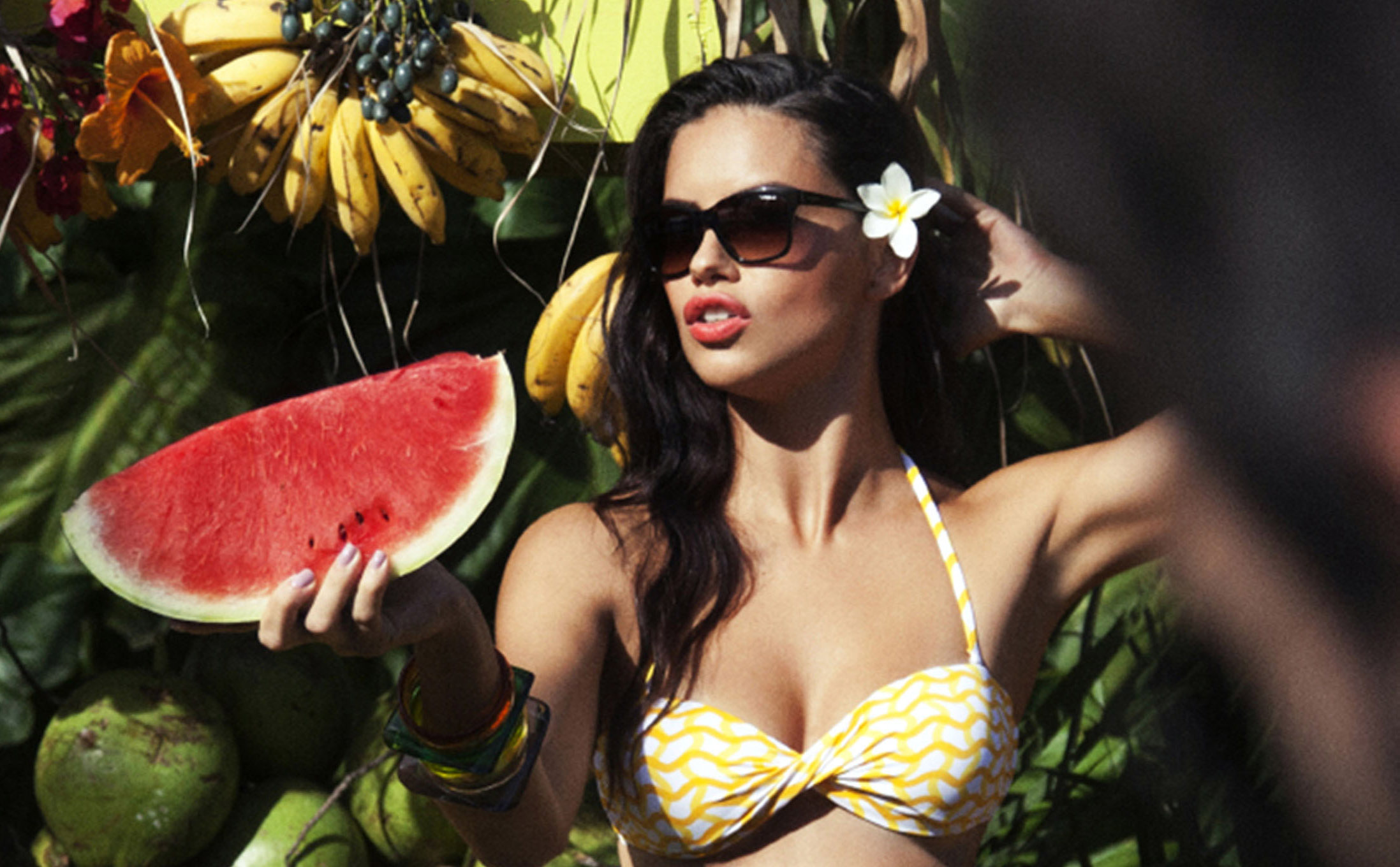 0b6ae3e678c Adriana Lima Rocks Yellow Bikini For Vogue Eyewear Campaign Shoot ...