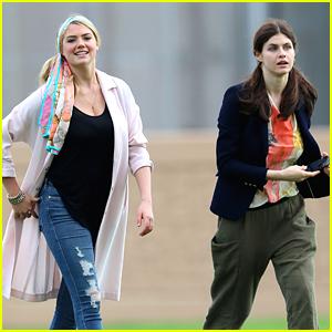 Kate Upton & Alexandra Daddario Have a Balloon Day On 'The Layover' Set