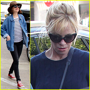 Dakota Johnson Catches Up With Mom Melanie Griffith Following LAX Landing