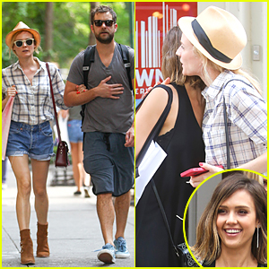 Diane Kruger & Jessica Alba Hug It Out in New York City