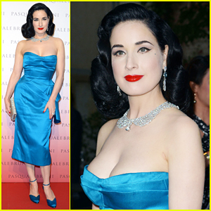 Dita Von Teese Is Lady In Blue at Pasquale Bruni Secret Garden Cocktail Party!